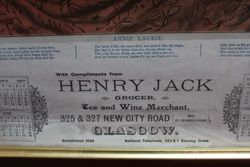 Framed and Glazed Henry Jack Grocer of Glasgow Calendar for 1907