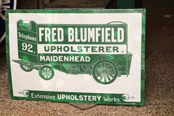 Fred Blumfield Upholster Maidenhead Enamel Advertising Sign