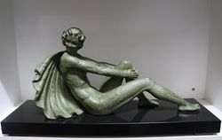 French Art Deco Green Spelter Figure