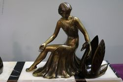 French Art Deco Lady and Swans on Marble