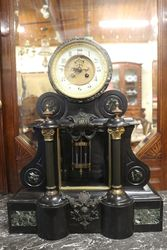 French Black Marble Drum Top Regulator Clock 8 Day Bell Striking Mounted