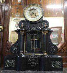 French Black Marble Drum Top Regulator Clock 8 Day Bell Striking Mounted