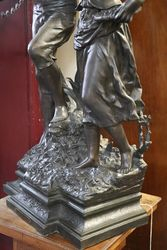 French Spelter Group Stunning Larger Antique Example of French Casting