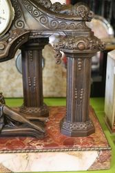 French Spelter and Marble Clock 1910 20