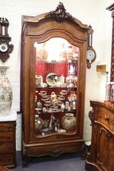 French Walnut Armoire Filled With Satsuma Porcelain