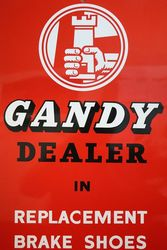 Gandy Dealer In Replacement Brake Shoes Enamel Sign