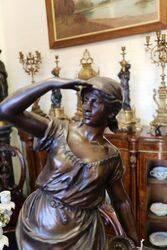 Genuine Antique Bronzed Spelter Female Figure