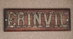 Genuine House Name Plate andquotERINVILandquot