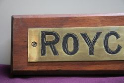 Genuine House Name Plate andquotROYCROFTandquot