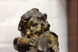 Genuine Juan Clara Bronze Figure Little Girl Putting On Shoe Signed And Foundry
