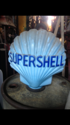 Genuine and Rare Blue Glass Super Shell Globe