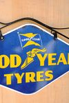 Goodyear Double Sided Enamel Sign With Wrought Iron Bracket