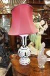 Green Ruby Overlay Lamp And Shade