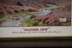 Heather Dew Scotch Whisky Distiller  Framed Advertising  Sign
