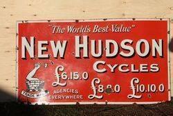 Hudson Cycles Enamel Advertising Sign