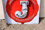 Jones Sewing Machine Post Mount Enamel Advertising Sign