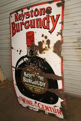 Keystone Burgundy Wine Enamel Advertising Sign