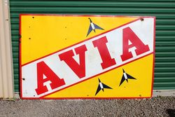 Large And Rare Avia Enamel Sign