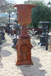 Large Athens  Cast Iron Urn On Base