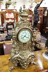 Large Brass Mantle Clock French 8 Day Movement