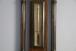 Large Edwardian Carved Oak Barometer
