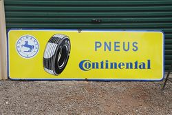 Large Pneus Continental Tyre Enamel Advertising Sign