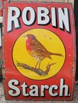 Large Robin Starch Enamel Sign