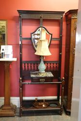 Late 19th Century Mahogany Shield Back Hall Stand With Marble Top C1890