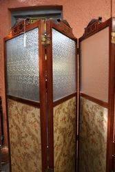 Late 19th Century Mahogany inlaid 4 Fold Dressing screen