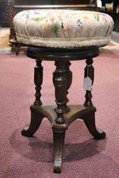 Late C19th English Walnut Revolving Piano Stool