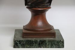 Late C19th Signed Spelter Bust on Marble Bust