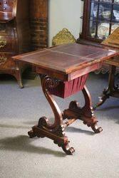 Late Regency Rosewood Ladies Works   Games Table