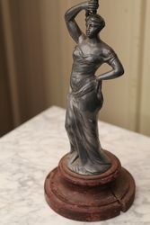 Late Victorian French Spelter Figure Base Oil Lamp