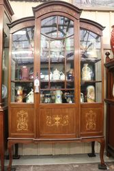 Late Victorian Inlayed Single Door Display Cabinet