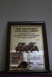 Leyland Lorry Motors Ltd Mirror Wooden Framed Advertising Sign