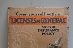Licenses and General  Insurance Company Tin Advertising Sign