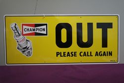 Lovely Pair Of Champion IN and OUT Tin Sign
