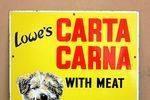 Lowes Carta Carne Pictorial Dog Food Enamel Sign
