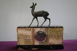 Marble Clock With Deer On top