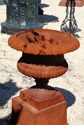 Medium Size Sonte Cast Iron Urn On Base