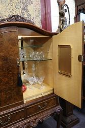 Mid C20th Burr Walnut Drinks Cabinet
