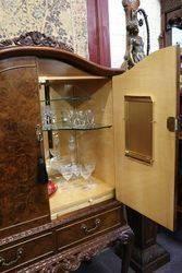 Mid C20th Burr Walnut Drinks Cabinet