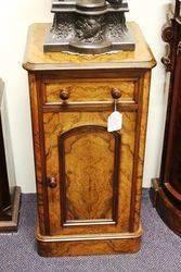 Mid Victorian Burr Walnut Bedside Cabinet