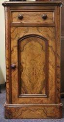 Mid Victorian Burr Walnut Single Door+ Single Drawer Cabinet