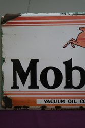 Mobiloil Enamel Advertising Sign Vacuum Oil Company