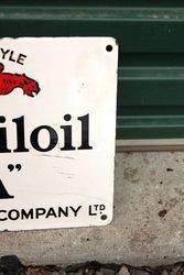 Mobiloil Gargoyle A Enamel Sign