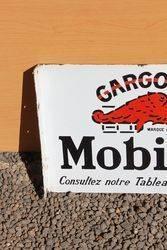 Mobiloil Gargoyle Enamel Post Mount Advertising Sign