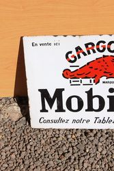 Mobiloil Gargoyle Enamel Post Mount Advertising Sign