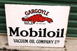 Mobiloil Gargoyle Post Mount Enamel Sign