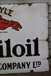 Mobiloil Gargoyle Vacuum Oil Enamel Advertising Sign